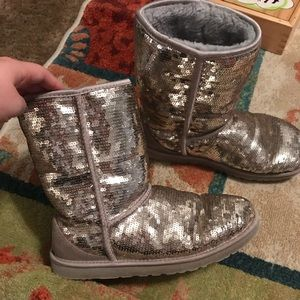 Silver sequin size 9 Ugg